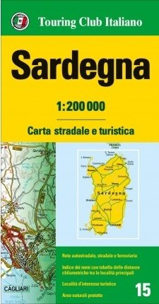 TCI-15  Sardegna (Sardinië) 1:200.000 9788836570966  TCI Italië Wegenkaarten  Landkaarten en wegenkaarten Sardinië