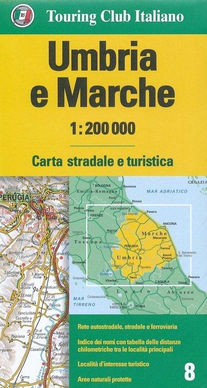 TCI-08  Umbria / Marche (Umbrië / De Marken) 1:200.000 9788836573455  TCI Italië Wegenkaarten  Landkaarten en wegenkaarten Toscane, Umbrië, de Marken