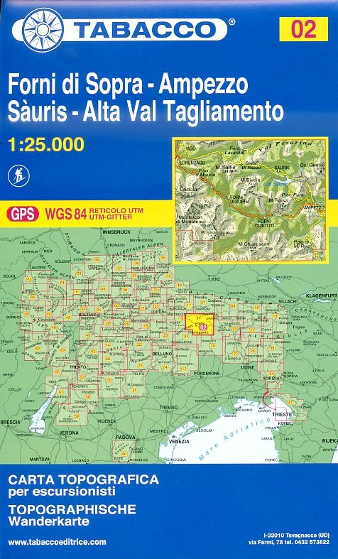 TAB-02   Forni di Sopra - Ampezzo   Tabacco wandelkaart 9788883150029  Tabacco Tabacco 1:25.000  Wandelkaarten Venetië, Veneto, Friuli