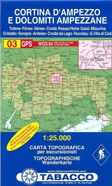TAB-03   Cortina d'Ampezzo | Tabacco wandelkaart 9788883150036  Tabacco Tabacco 1:25.000  Wandelkaarten Zuid-Tirol, Dolomieten