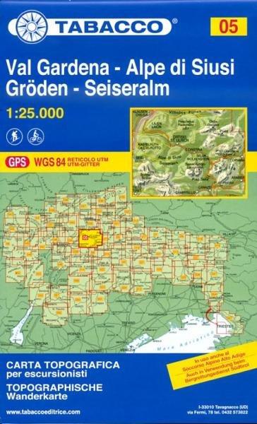 TAB-05  Val Gardena / Grödnertal - Alpi di Siusi / Seiser Alm | Tabacco wandelkaart 9788883150050  Tabacco Tabacco 1:25.000  Wandelkaarten Zuid-Tirol, Dolomieten