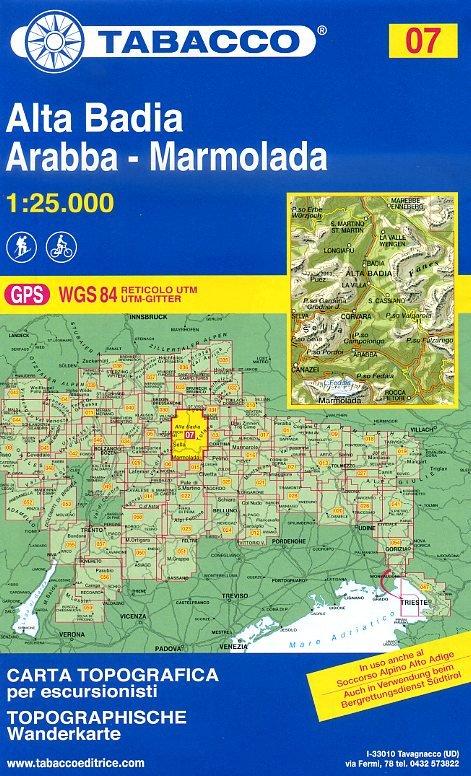 TAB-07  Alta Badia - Fanes - Sella / Peitlerkofel | Tabacco wandelkaart 9788883150074  Tabacco Tabacco 1:25.000  Wandelkaarten Zuid-Tirol, Dolomieten