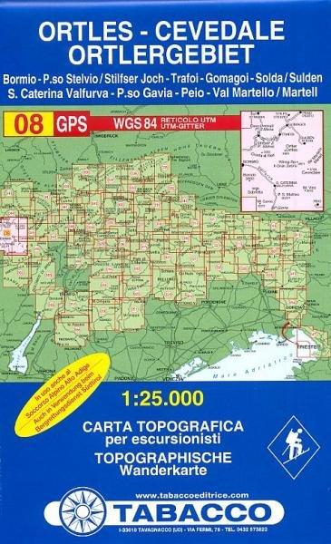 TAB-08  Gruppo Ortles - Cevedale/ Ortlergruppe   Tabacco wandelkaart 9788883150081  Tabacco Tabacco 1:25.000  Wandelkaarten Zuidtirol, Dolomieten, Friuli, Venetië, Emilia-Romagna