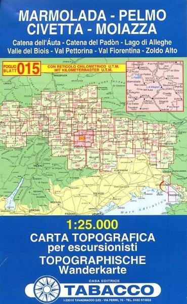 TAB-15  Marmolada, Pelmo, Civetta, Moiazza | Tabacco wandelkaart 9788883150159  Tabacco Tabacco 1:25.000  Wandelkaarten Zuid-Tirol, Dolomieten