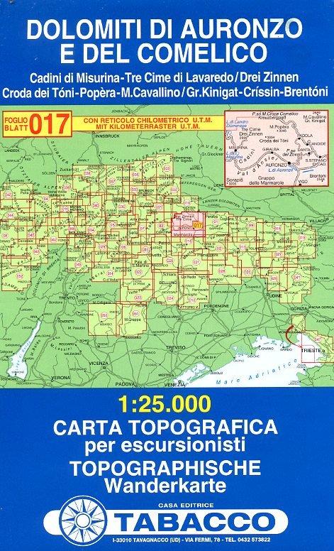 TAB-17  Dolomiti di Auronzo e del Comelico   Tabacco wandelkaart 9788883150173  Tabacco Tabacco 1:25.000  Wandelkaarten Zuidtirol, Dolomieten, Friuli, Venetië, Emilia-Romagna