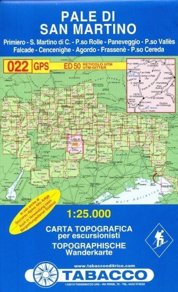TAB-22  Pale di San Martino | Tabacco wandelkaart 9788883150227  Tabacco Tabacco 1:25.000  Wandelkaarten Zuidtirol, Dolomieten, Friuli, Venetië, Emilia-Romagna