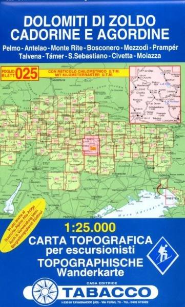 TAB-25  Dolomiti di Zoldo - S.Vito di Cadore | Tabacco wandelkaart 9788883150258  Tabacco Tabacco 1:25.000  Wandelkaarten Zuidtirol, Dolomieten, Friuli, Venetië, Emilia-Romagna