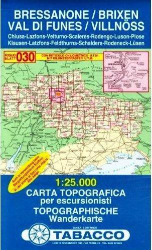 TAB-30  Bressanone, Val di Funes | Tabacco wandelkaart 9788883150302  Tabacco Tabacco 1:25.000  Wandelkaarten Zuidtirol, Dolomieten, Friuli, Venetië, Emilia-Romagna