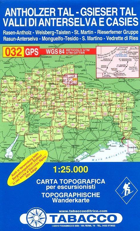 TAB-32  Valle di Anterselva - Valle di Casies | Tabacco wandelkaart 9788883150326  Tabacco Tabacco 1:25.000  Wandelkaarten Zuidtirol, Dolomieten, Friuli, Venetië, Emilia-Romagna