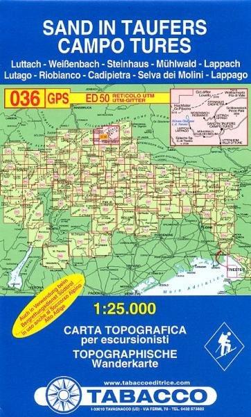 TAB-36  Sand im Taufers   Tabacco wandelkaart 9788883150364  Tabacco Tabacco 1:25.000  Wandelkaarten Zuidtirol, Dolomieten, Friuli, Venetië, Emilia-Romagna