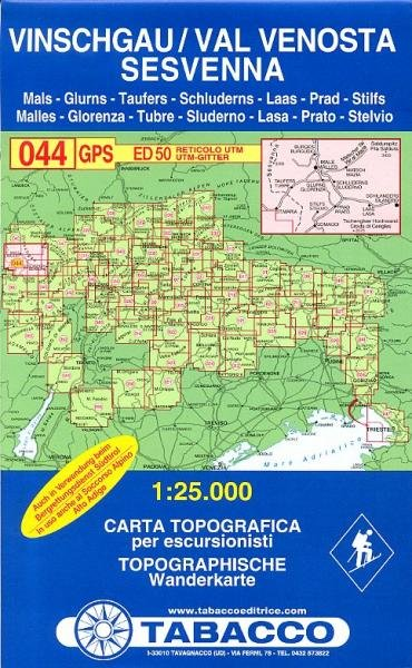 TAB-44  Val Venosta - Sesvenna   Tabacco wandelkaart 9788883150609  Tabacco Tabacco 1:25.000  Wandelkaarten Zuidtirol, Dolomieten, Friuli, Venetië, Emilia-Romagna