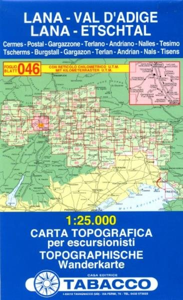 TAB-46 Lana - Val d Adige | Tabacco wandelkaart 9788883150678  Tabacco Tabacco 1:25.000  Wandelkaarten Zuidtirol, Dolomieten, Friuli, Venetië, Emilia-Romagna