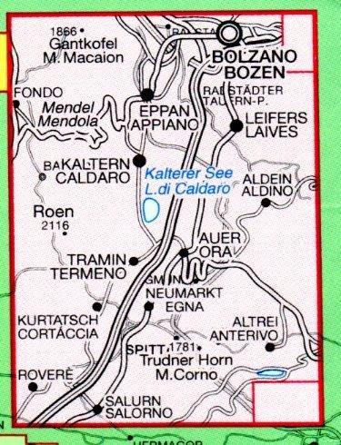 TAB-49  Südtiroler Weinstrasse | Tabacco wandelkaart 9788883150807  Tabacco Tabacco 1:25.000  Wandelkaarten, Wijnreisgidsen Zuid-Tirol, Dolomieten