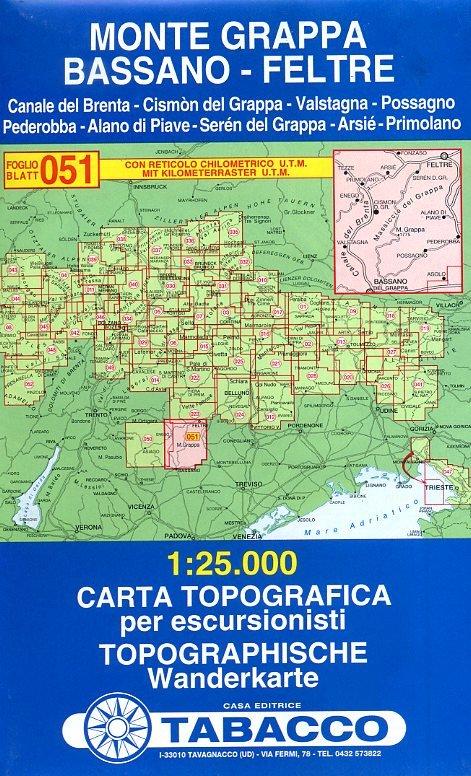 TAB-51  Monte Grappa   Tabacco wandelkaart 9788883150869  Tabacco Tabacco 1:25.000  Wandelkaarten Zuidtirol, Dolomieten, Friuli, Venetië, Emilia-Romagna