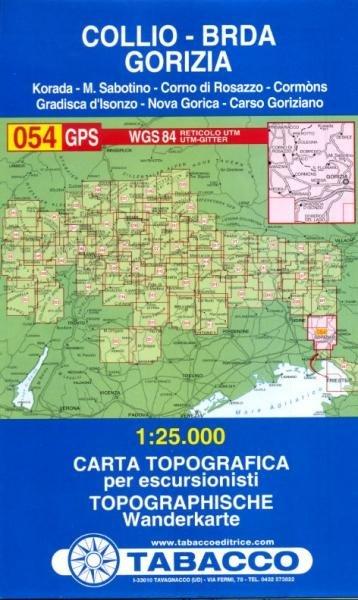 TAB-54  Collio, Brda, Gorizia | Tabacco wandelkaart 9788883150913  Tabacco Tabacco 1:25.000  Wandelkaarten Zuidtirol, Dolomieten, Friuli, Venetië, Emilia-Romagna