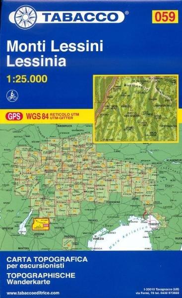 TAB-59 Monti Lessini | Tabacco wandelkaart 9788883150999  Tabacco Tabacco 1:25.000  Wandelkaarten, Wijnreisgidsen Zuidtirol, Dolomieten, Friuli, Venetië, Emilia-Romagna