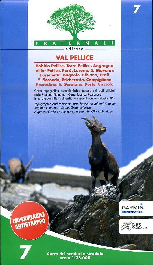 FRA-07  Val Pellice   wandelkaart 1:25.000 9788890278471  Fraternali Editore   Wandelkaarten Turijn, Piemonte