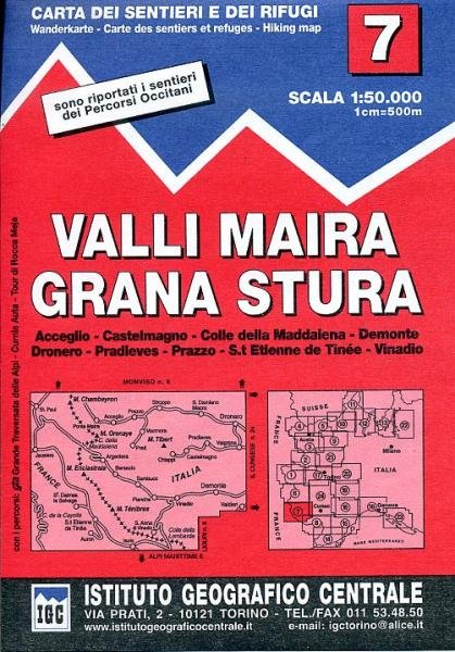 IGC-07: Valli Maira - Grana Stura 9788896455074  IGC IGC: 1:50.000  Wandelkaarten Ligurië, Piemonte, Lombardije