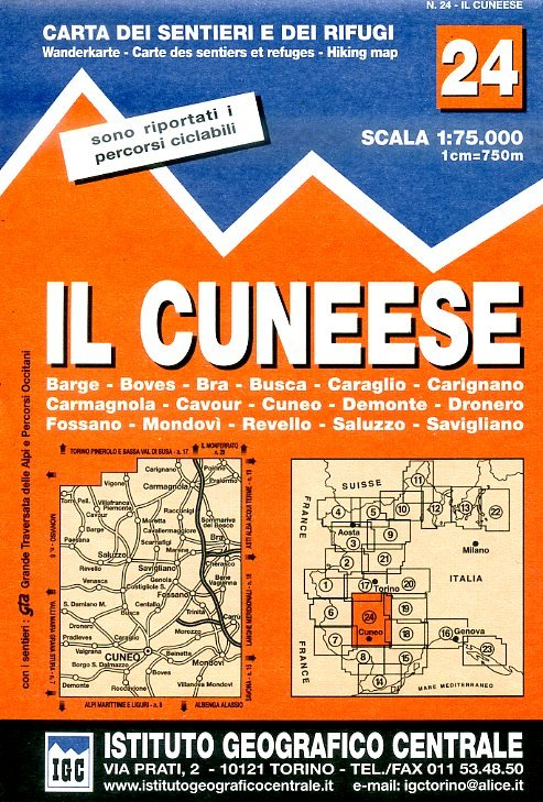 IGC-24 Il Cuneese 1:75.000 9788896455241  IGC IGC: 1:50.000  Wandelkaarten Ligurië, Piemonte, Lombardije