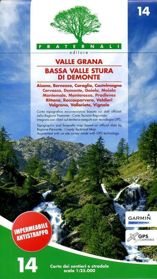 FRA-14  Valle Grana 1:25.000 9788897465102  Fraternali Editore   Wandelkaarten Ligurië, Piemonte, Lombardije