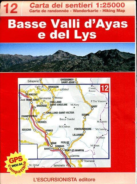 ESC-12  Bassa Valle d'Ayas e Gressoney | wandelkaart 1:25.000 9788898520015  Escursionista   Wandelkaarten Ligurië, Piemonte, Lombardije