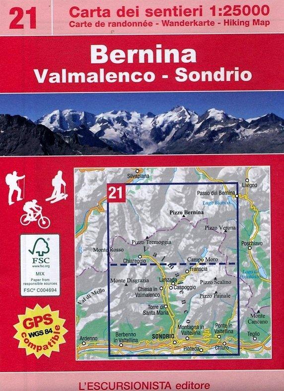 ESC-21  Bernina, Valmalenco, Sondrio   wandelkaart 1:25.000 9788898520398  Escursionista   Wandelkaarten Turijn, Piemonte