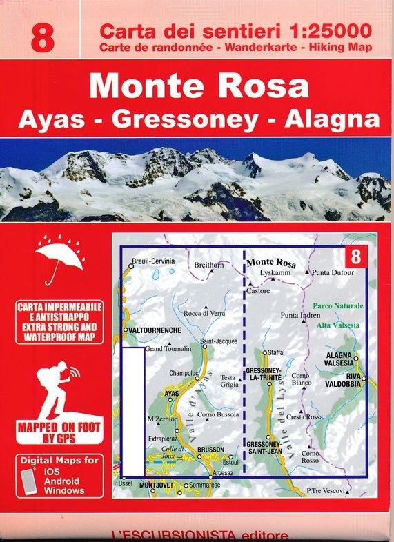 ESC-08  Monte Rosa | wandelkaart 1:25.000 9788898520688  Escursionista   Wandelkaarten Ligurië, Piemonte, Lombardije