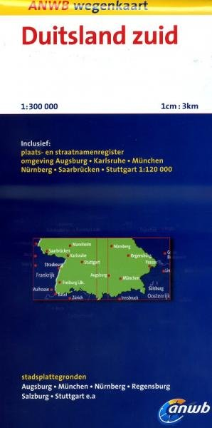 Duitsland Zuid 1:300.000 9789018036430  ANWB Wegenkaarten  Landkaarten en wegenkaarten Zuid-Duitsland
