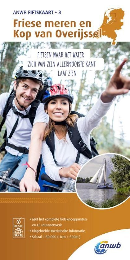 AF-03  Friese Meren, Kop van Overijssel - ANWB fietskaart 1:50.000 9789018041748  ANWB ANWB fietskaarten 50.000  Fietskaarten Friesland, Kop van Overijssel, Vecht & Salland