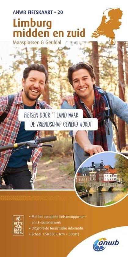 AF-20  Limburg Midden en Zuid - ANWB fietskaart 1:50.000 9789018041915  ANWB ANWB fietskaarten 50.000  Fietskaarten Maastricht en Zuid-Limburg