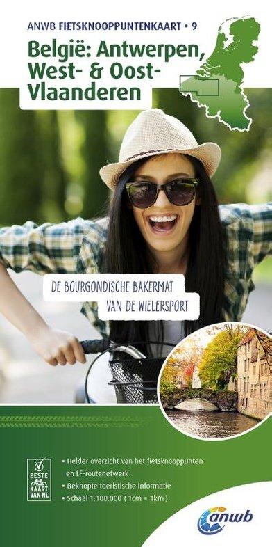 Antwerpen, West & Oost-Vlaanderen - fietskaart 1:100.000 9789018042240  ANWB ANWB - fietskaarten 100.000  Fietskaarten Vlaanderen & Brussel