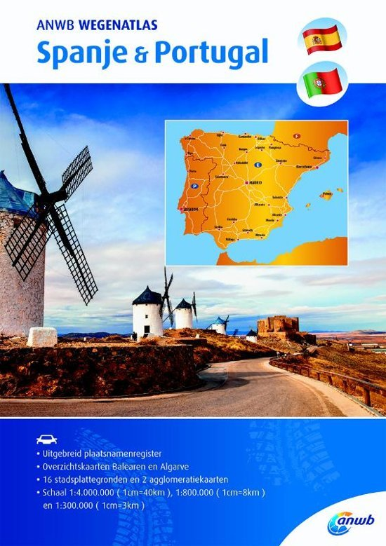 ANWB Wegenatlas Spanje/Portugal 1:300.000 9789018043100  ANWB ANWB Wegenatlassen  Wegenatlassen Spanje
