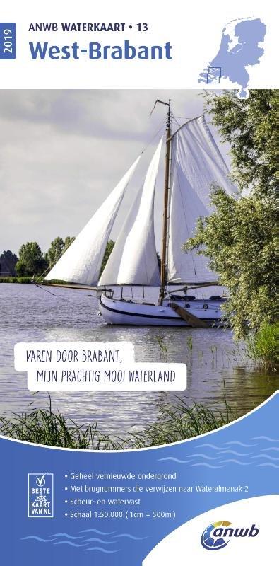 WTK-13  West-Brabant Waterkaart 9789018044831  ANWB ANWB Waterkaarten  Watersportboeken Noord-Brabant