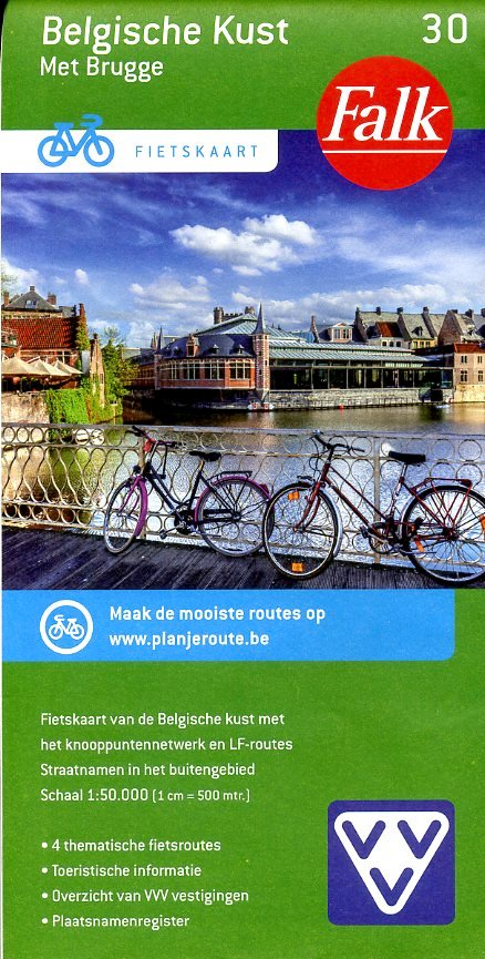 FFK-30 Belgische kust & Brugge 1:50.000 9789028727892  Falk Fietskaarten met Knooppunten  Fietskaarten Vlaanderen & Brussel