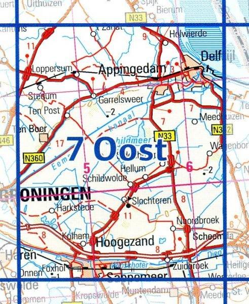 07 Oost 9789035000797  Topografische Dienst / Kadaster Ned. 1:50.000  Wandelkaarten Groningen