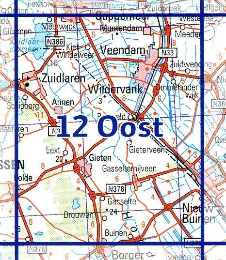 12 Oost 9789035001299  Topografische Dienst / Kadaster Ned. 1:50.000  Wandelkaarten Groningen