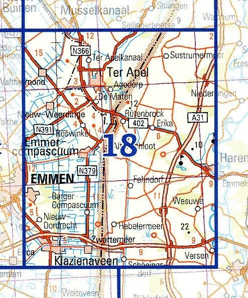 18 9789035001886  Topografische Dienst / Kadaster Ned. 1:50.000  Wandelkaarten Groningen