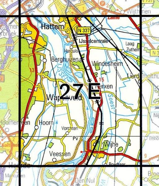 27E Wijhe 1:25.000 9789035002746  Topografische Dienst / Kadaster Topografische Kaart  Wandelkaarten Kop van Overijssel, Vecht & Salland