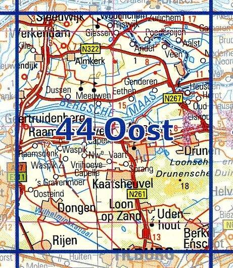 44 Oost 9789035004498  Topografische Dienst / Kadaster Ned. 1:50.000  Wandelkaarten Noord-Brabant