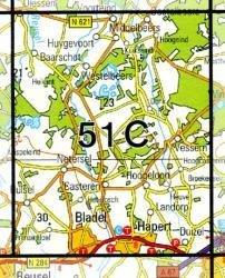 51C  Hoogeloon 1:25.000 9789035005129  Topografische Dienst / Kadaster Topografische Kaart  Wandelkaarten Noord-Brabant