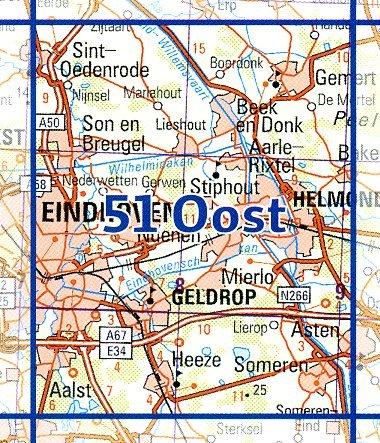 51 Oost 9789035005198  Topografische Dienst / Kadaster Ned. 1:50.000  Wandelkaarten Noord-Brabant