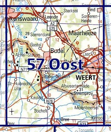 57 Oost 9789035005792  Topografische Dienst / Kadaster Ned. 1:50.000  Wandelkaarten Noord- en Midden-Limburg