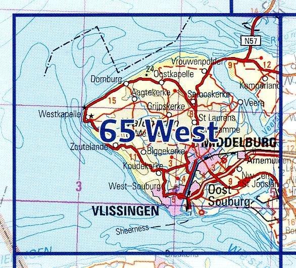 65  West 9789035006584  Topografische Dienst / Kadaster Ned. 1:50.000  Wandelkaarten Zeeland