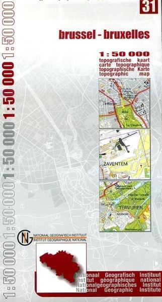 NGI-31  Brussel (topografische kaart 1:50.000) 9789059340473  NGI Belgie 1:50.000  Wandelkaarten Brussel