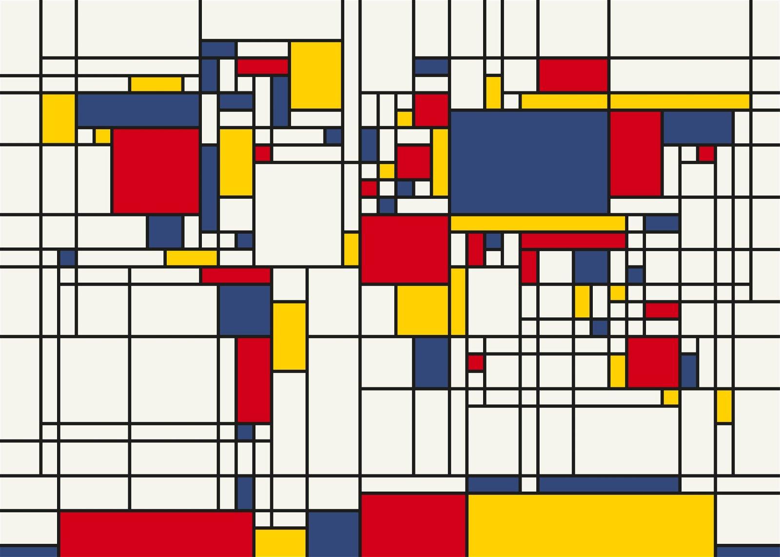 Mondrian World Map | Mondriaan wereldkaart 9789075295047 Michael Tompsett Stanley & Livingstone   Wandkaarten Wereld als geheel