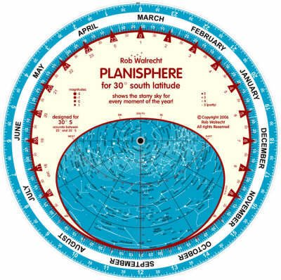 Planisphere for 30 degrees south 9789080324367  Rob Walrecht   Reisgidsen Universum (Heelal)