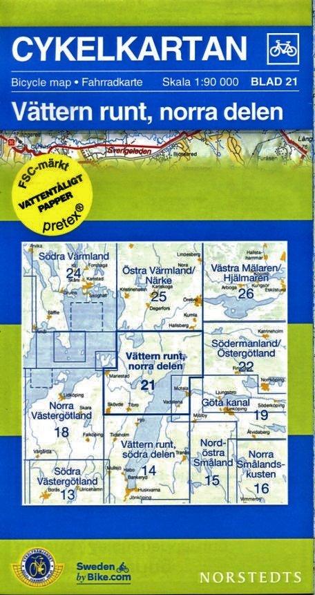 NC-21 Vättern runt, norra delen 1:90.000 9789113041940  Norstedts Cykelkartan Fietskaarten Zweden  Fietskaarten Zuid-Zweden