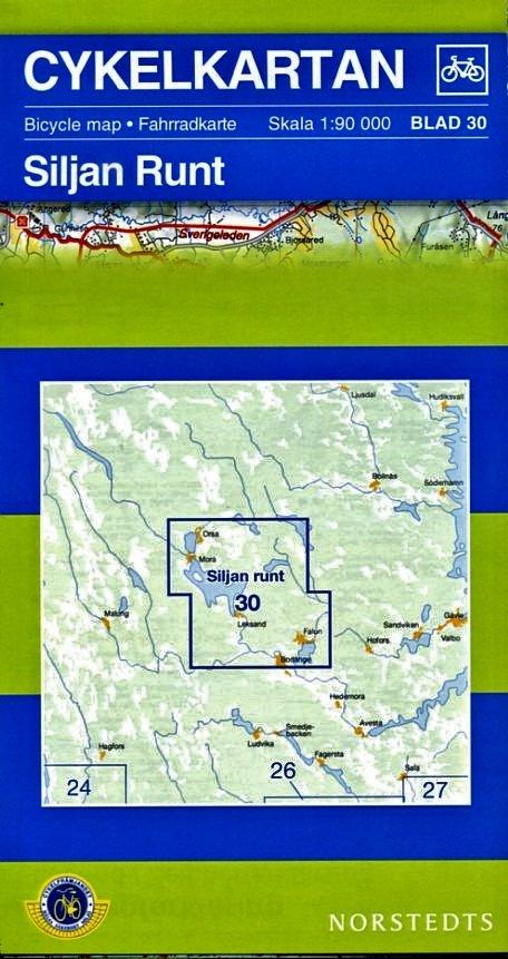 NC-30 Siljan runt 1:90.000 9789113042015  Norstedts Cykelkartan Fietskaarten Zweden  Fietskaarten Zweden boven Uppsala