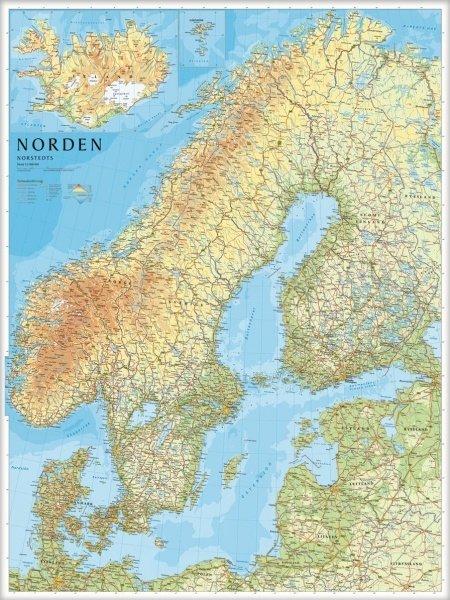 Norden / The Nordic Countries -  flat map 9789113055480  Kartförlaget - Lantmäteriet   Wandkaarten Scandinavië & de Baltische Staten