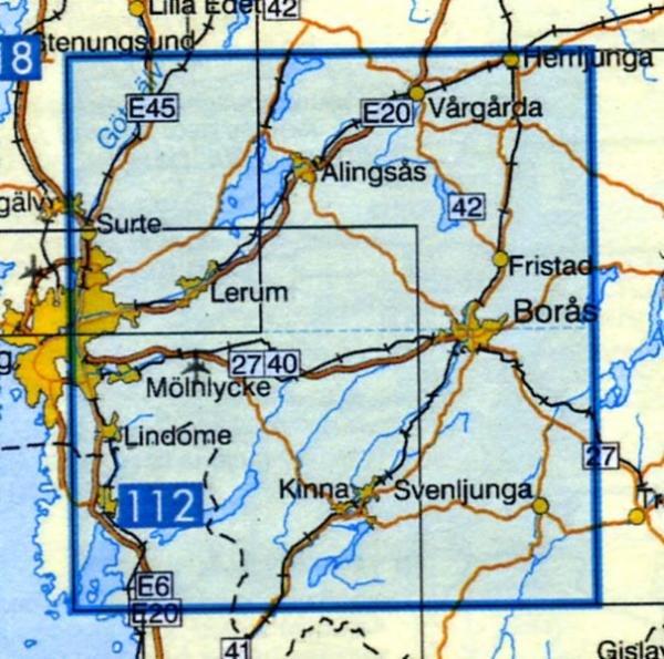 VK-113  Boras 1:100.000 9789158801134  Kartförlaget - Lantmäteriet Vägkartan  Landkaarten en wegenkaarten Zuid-Zweden